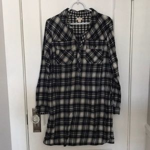 J. Crew Black and White Flannel Dress